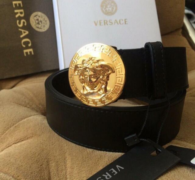 One Size Fits All Versace Jeans Belt Men/'s New Reversible Leather Black Belt