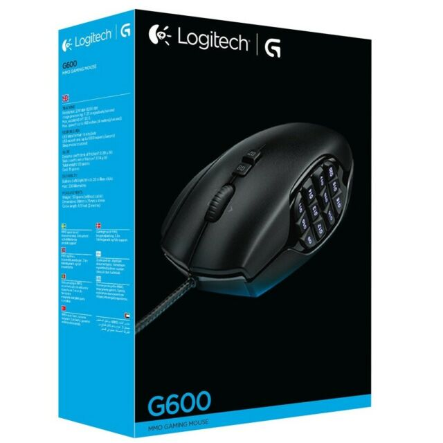 Logitech G600 MMO Gaming Mouse 20 Programmable Buttons RGB Backlit
