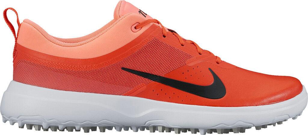 NEW Women's Nike AKAMAI sz 10 CRIMSON ORANGE White Black Spikeless Golf Shoes