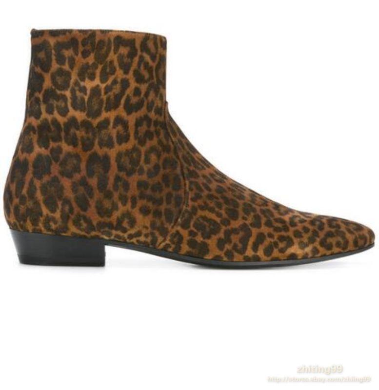 Garanzia del prezzo al 100% Mens Printed Leopard Block Heel Ankle avvio Chelsea Leather Leather Leather Real Suede scarpe CZ7  nuovo sadico