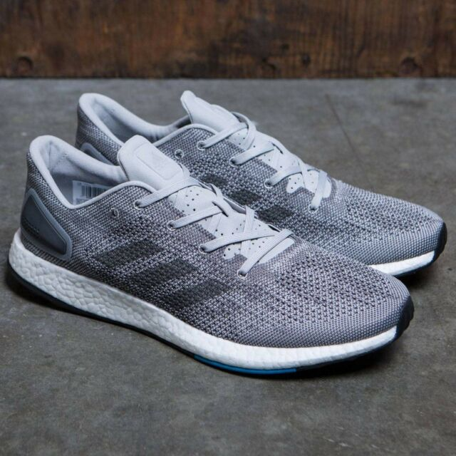 Mens Adidas Pureboost DPR Boost Gray Blue Running Shoes