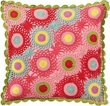 Room Seven Cushion Cover crochet multi colour Kissenbezug Kissenhülle 40 x 40 cm