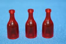 Playmobil three pop / beer bottles in red  - house shop supermarket - spares