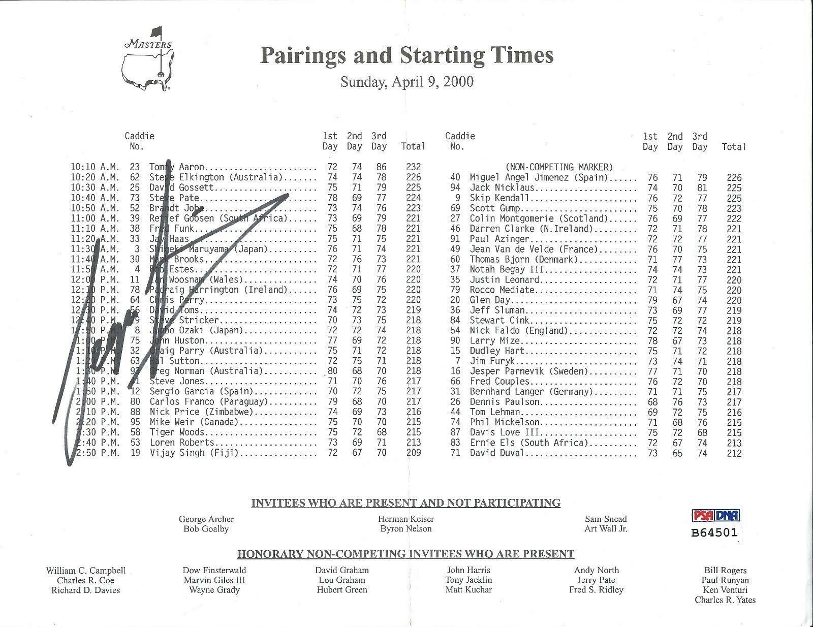 Sergio Garcia Signed Pairings and Starting Times Golf Tournament Sheet PSA