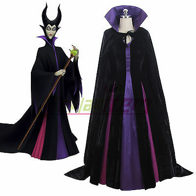 XL Black Violet Purple Halloween Demon Red Women/'s Cloak Cape Maleficent S