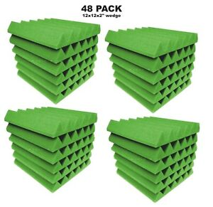 Green-Acoustic-Foam-48-Pack-12x12x2-Wedge-Professional-Studio-Soundproofing