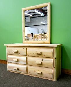Premium Log Dresser w/Mirror -$899- Dovetail Drawers