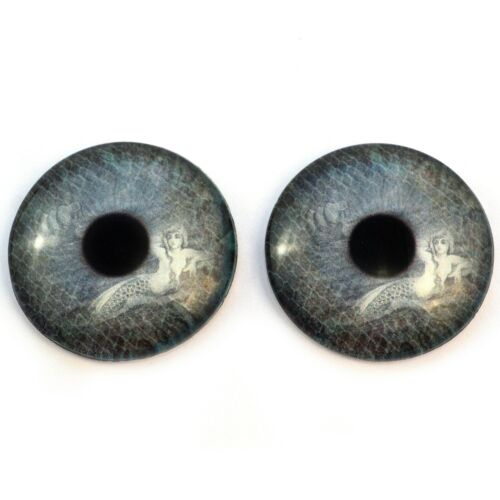 Pair of 40mm Vintage Mermaid Ship Teal Glass Eyes for Jewelry or Art Doll Making