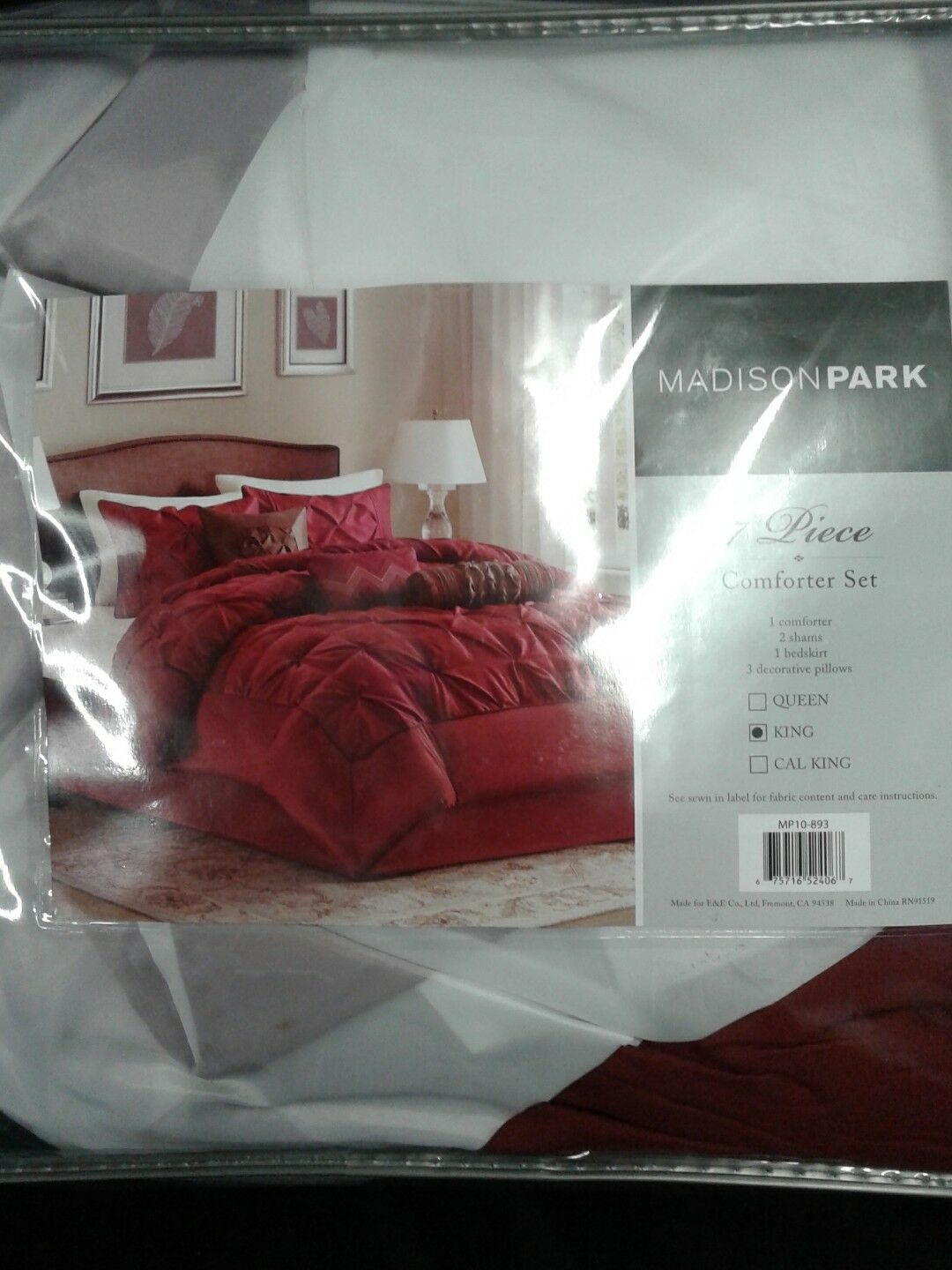 Madison Park MP10-893 Tufted 7pc Comforter Set rot King