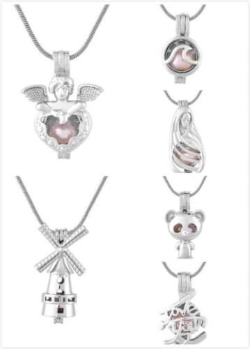 Hot Nouveau Plaqué Argent Perle cage pendentifs forakoya Oyster Pearl Chain Wish Cadeau