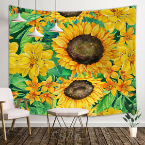 Details About Oil Painting Sunflower Decor Bedroom Living Room Wall Hanging Tapestry Blanket