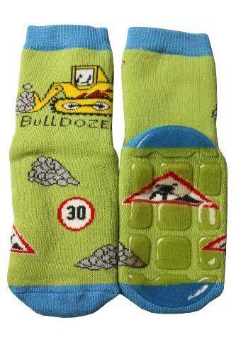 Weri Spezials Baby-Boys Terry ABS Bulldozer Slippers Anti Non Slip Socks 12-24 M