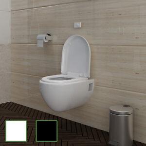 edle design wand h nge wc toilette inkl soft close wc sitz wei schwarz ebay. Black Bedroom Furniture Sets. Home Design Ideas