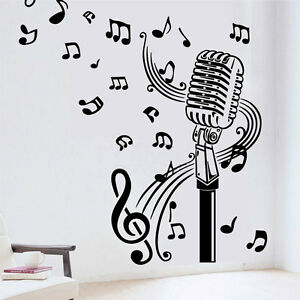 microphone mic music musical notes art words wall sticker home decor rh ebay com music note art prints music note art project