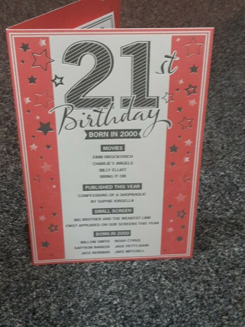 21st  TODAY YEAR YOU WERE BORN IN BIRTHDAY CARD 2000 EVENTS UNIQUE TO  YEAR