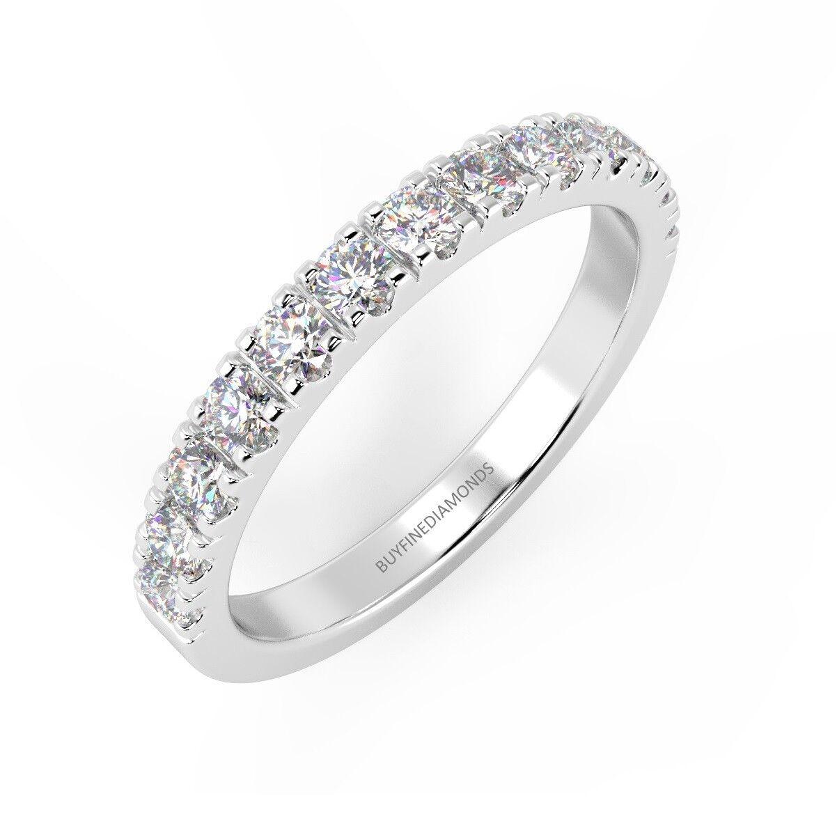 Top Quality 1 4Ct Round Diamond Micro Pave Set Half Eternity Ring, UK Hallmarked