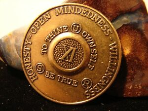 Alcoholics Anonymous 11 Year AA Bronze Medallion Coin Token Chip Sobriety Sober