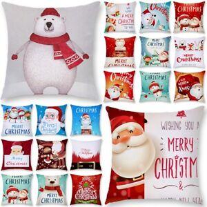 Kissenbezug-Weihnachten-Santa-Kissenhuelle-Dekokissen-Kopfkissenbezug-Sofa-Dekor