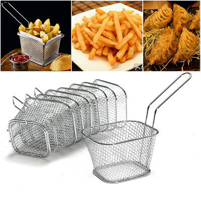 4x Mini Eckig Frittierkorb Metall Pommes Korb Frituese Pommesschale Servierkorb