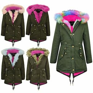 45f4a9b2078a Kids Hooded Jacket Girls Faux Fur Parka School Jackets Outwear Coat ...