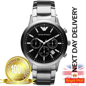 GENUINE-EMPORIO-ARMANI-AR2434-MEN-039-S-STAINLESS-STEEL-BLACK-DIAL-MEN-039-S-WATCH-UK