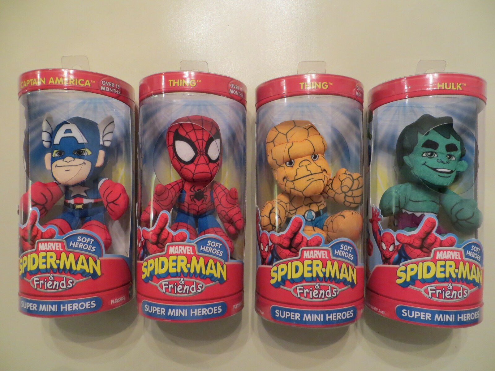 4 MARVEL MARVEL MARVEL SPIDERuomo & FRIENDS SUPER MINI HEROES completare SET PLUSH THING HULK daafa9
