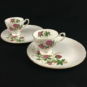 Set-of-2-VTG-Cup-and-Snack-Plate-Sets-Tuscan-China-Four-Leaf-Clover-England