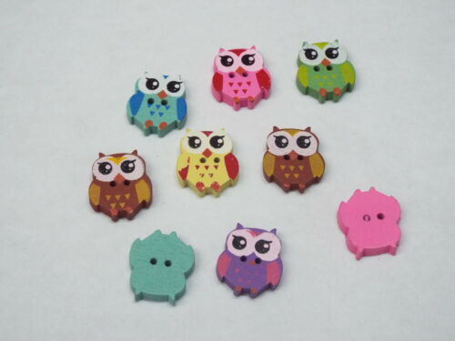 8pc 18mm Painted Owl Wooden Cardigan Trouser Shirt Kid Baby Sewing Buttons 0286