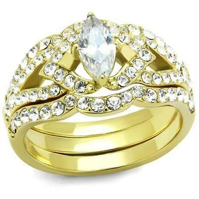 Brilliant 0.47 ct Marquise Cubic Zircon CZ AAA Gold Plated Ring 5 - 10 TK2743