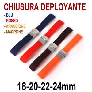 CINTURINO-OROLOGIO-SILICONE-GOMMA-DEPLOYANTE-BLU-ROSSO-18mm-20mm-22mm-24mm