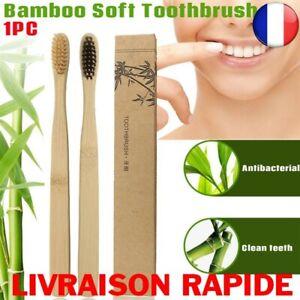 Brosse-A-Dents-Bambou-Naturel-Colore-Blanchiment-Doux-Charbon-Ecologique-Vegan