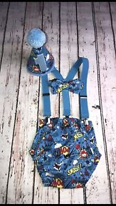 Blue Colour Baby Boy 1st Birthday Cake Smash Prop Outfit Handmade