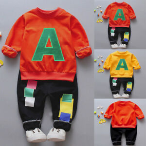 Toddler Boys Kids Letter Clothes 2PC Long Sleeve T-shirt+Pant Casual Outfit Set