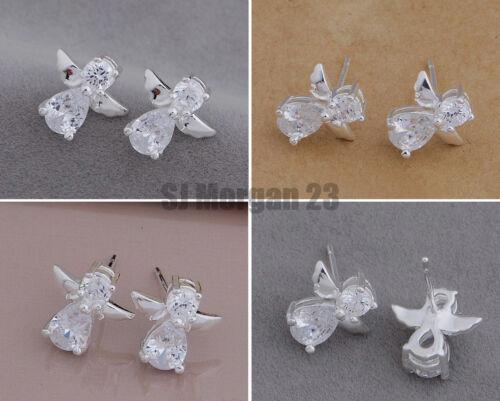 Pair of Guardian Sterling Silver 925 Cubic Zirconia Angel Stud Earrings