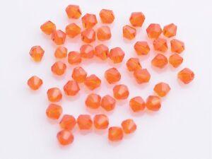 200 un. 4mm Bicono vidrio cristal facetado suelto espaciador granos Naranja Rojo