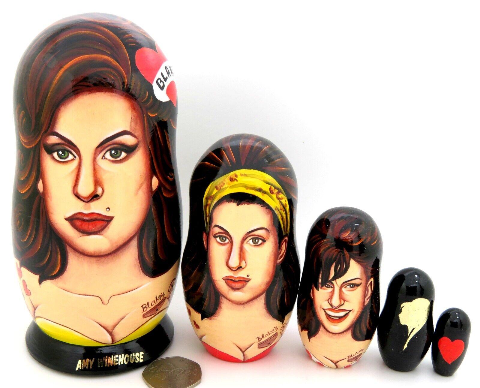 Amy Jade Winehouse Singer Matrioska Dipinto a Mano Bambole 5 Abakumova Regalo