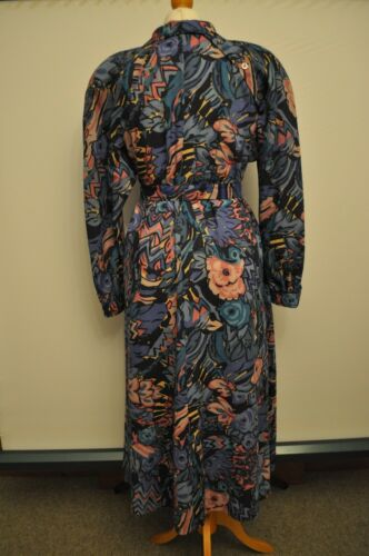 12 Blue All Colour Liberty Flowers Ladies Dress Vintage 1980s Size Wool With BwqO10BIz