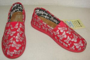 Youth-Classics-TOMS-Slip-On-Childrens-Shoes-Size-2-Pink-Butterflys