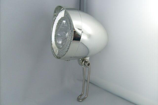 Fahrrad Nostalgie LED Scheinwerfer UN-4938 chrom 40 Lux Standlicht Sensor Auto