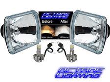"""7X6"""" 6000K LED Crystal Clear Glass Metal Headlight H4 Light Bulb Headlamp Pair"""