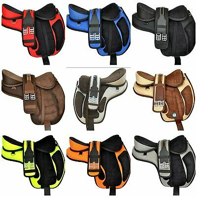 """Details about  /Synthetic Freemax Treeless Horse Saddle English Tack Tan 17 inch/"""" Free Shipping"""