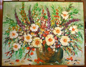 Grosses-farbenfrohes-Blumenbild-Ol-auf-Platte-Impressionistischer-Malstil-105x82