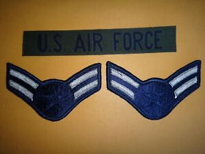 U.S. AIR FORCE Pocket Tape Patch + Pair Of USAF AIRMAN 1st CLASS Large Chevrons