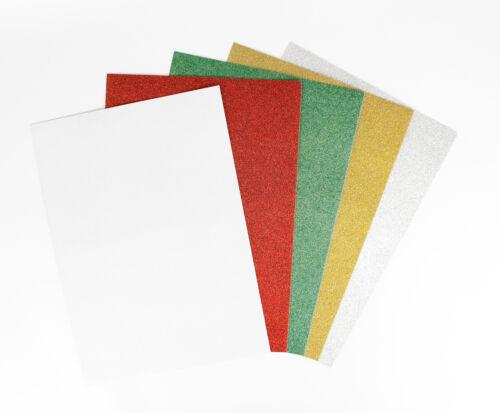 Papier cartonné fort A4 Assortiment pailleté x 5 MegaCrea DIY
