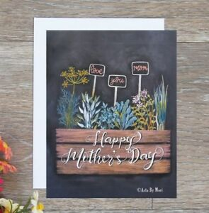 handmade-Mother-039-s-day-card-hand-drawn-with-herbplant-pots-free-next-day-shipping