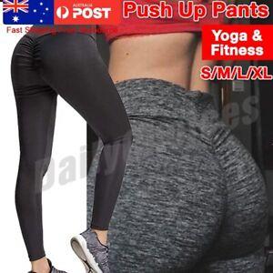 Women's Yoga Pants PUSH UP Fitness Leggings Sports Scrunch Stretch Trousers AU