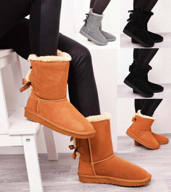 76c9a503518 Ladies Women Winter Fur Real Genuine Leather Sheepskin Bow Shoe Snow Boots  Style