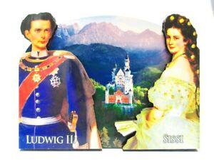 Neuschwanstein-Koenig-Ludwig-Sissy-2D-Holz-Magnet-10cm-Souvenir-Germany