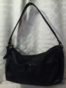 Image Is Loading Small Tignanello Black Soft Leather Purse Handbag Silver
