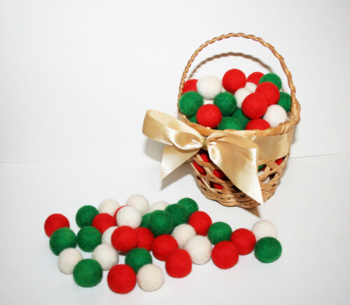 100 pcs 2cm Christmas set Christmas decor felt balls 100/% wool 100/% hand made